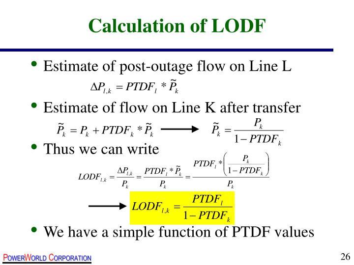 Calculation of LODF