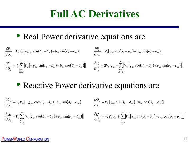 Full AC Derivatives