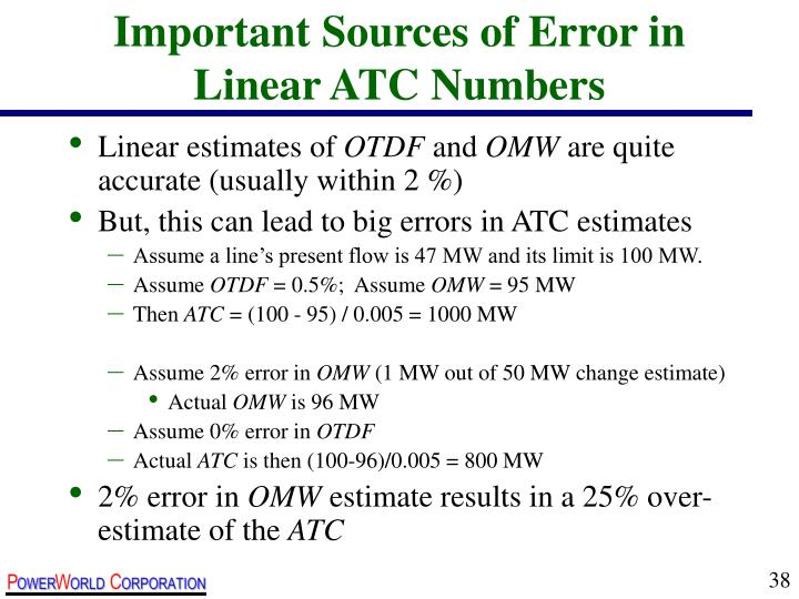Important Sources of Error in Linear ATC Numbers