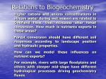 relations to biogeochemistry