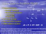 water balance equation model
