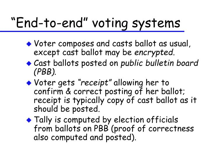 """""""End-to-end"""" voting systems"""