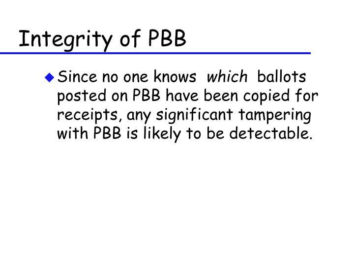 Integrity of PBB