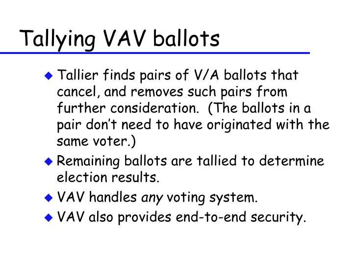 Tallying VAV ballots