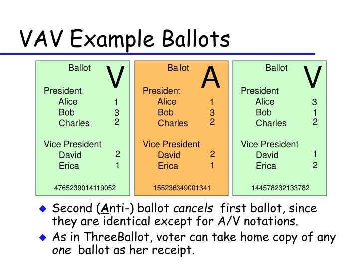 VAV Example Ballots