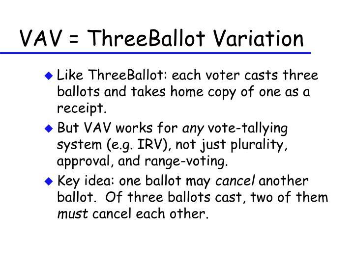VAV = ThreeBallot Variation