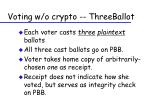 voting w o crypto threeballot