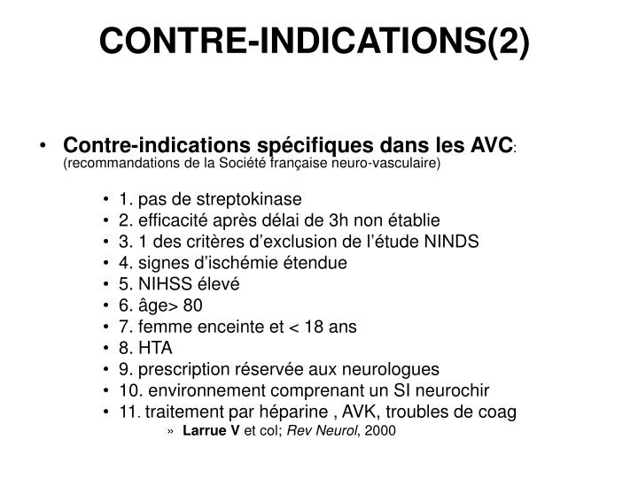 CONTRE-INDICATIONS(2)