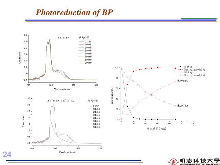 Photoreduction of BP