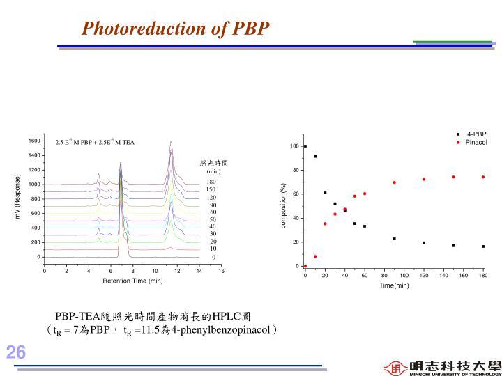 Photoreduction of PBP