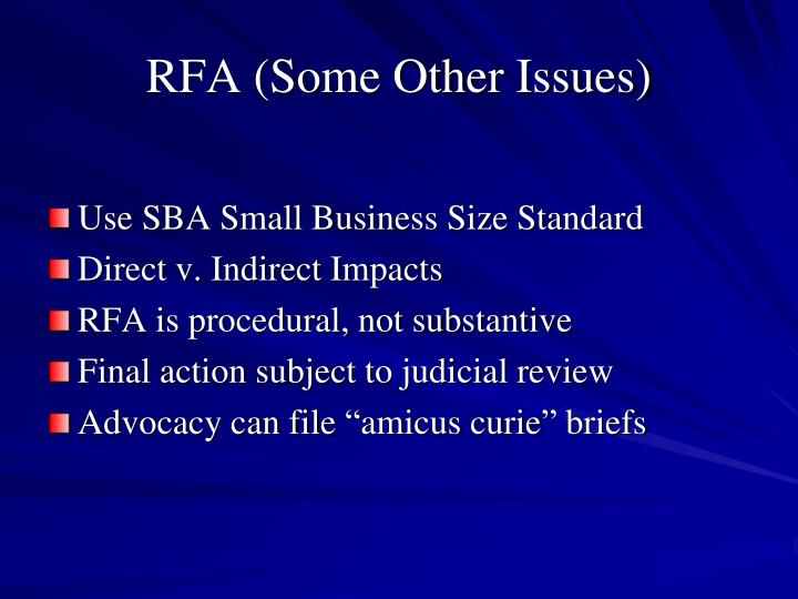 RFA (Some Other Issues)