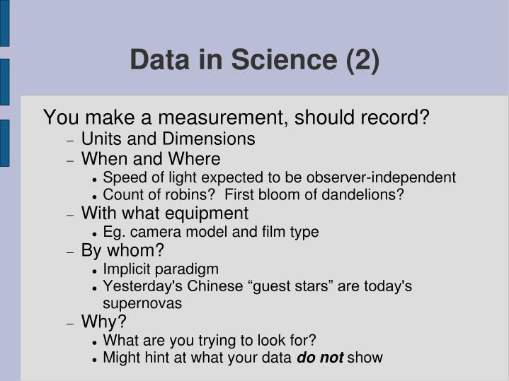 Data in Science (2)