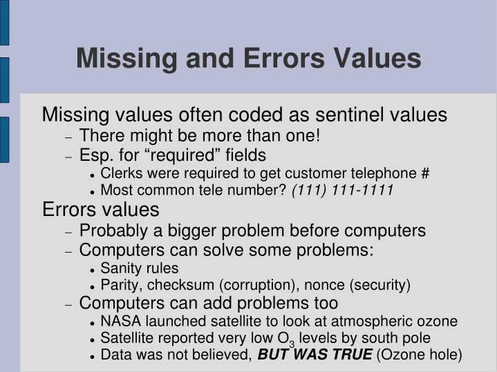 Missing and Errors Values