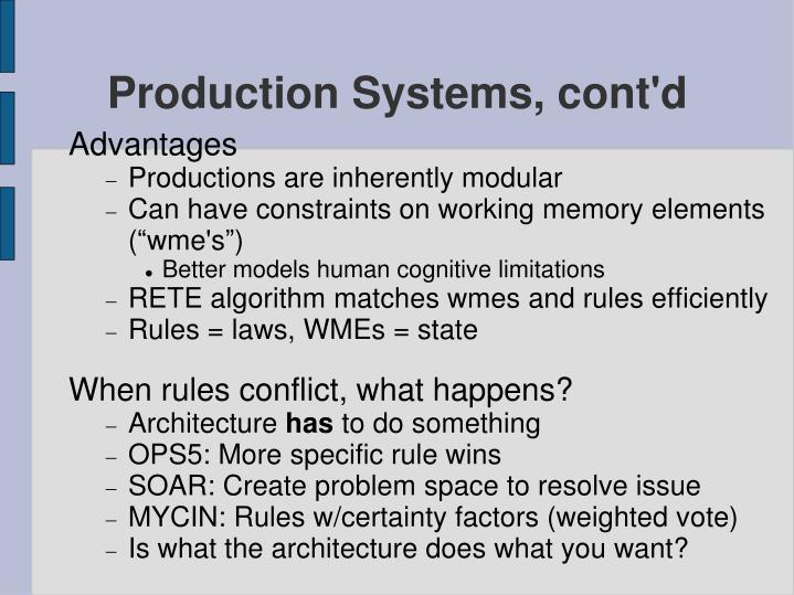 Production Systems, cont'd