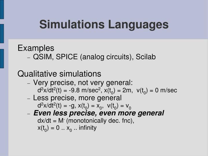 Simulations Languages