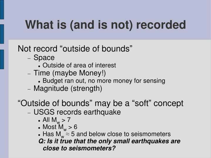 What is (and is not) recorded