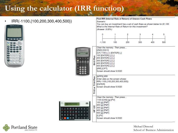 Using the calculator (IRR function)