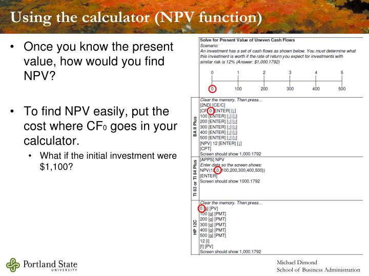 Using the calculator (NPV function)