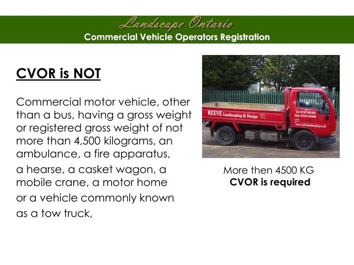 Commercial Vehicle Operators Registration