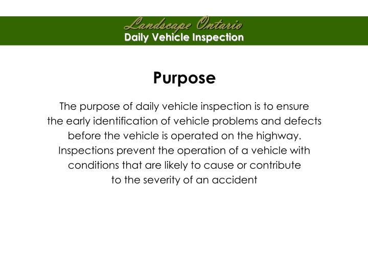 Daily Vehicle Inspection