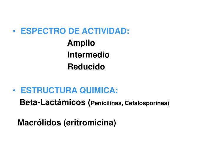 ESPECTRO DE ACTIVIDAD: