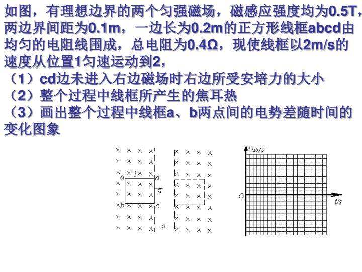 如图,有理想边界的两个匀强磁场,磁感应强度均为