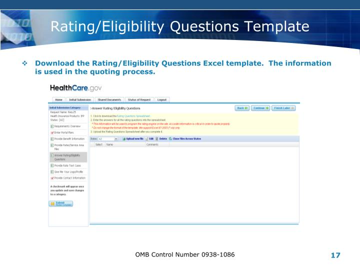 Rating/Eligibility Questions Template