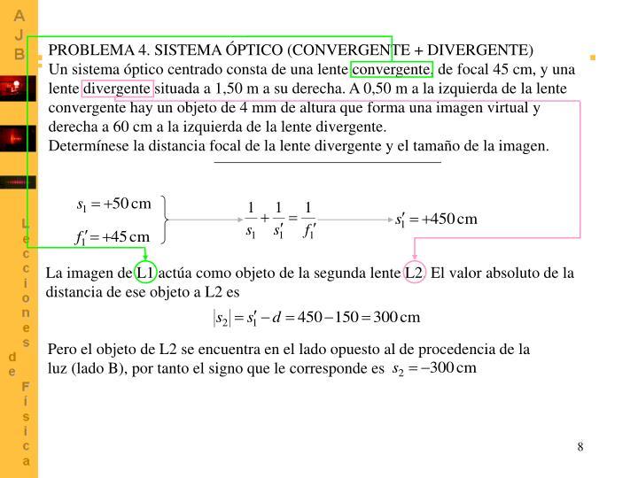 PROBLEMA 4. SISTEMA ÓPTICO (CONVERGENTE + DIVERGENTE)