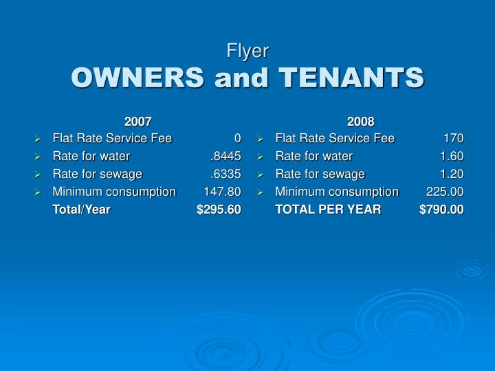 Flyer owners and tenants