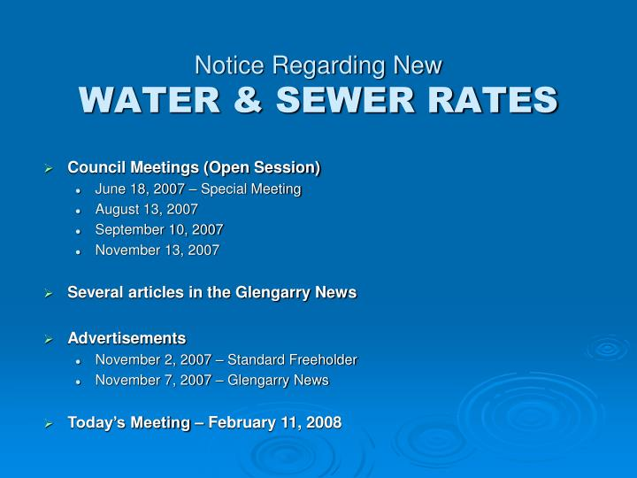 Notice regarding new water sewer rates