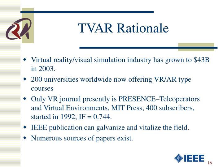 TVAR Rationale