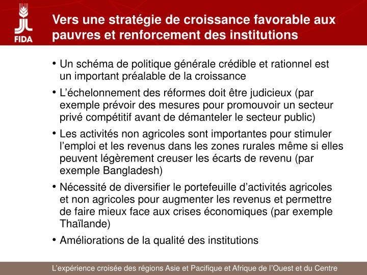 Vers une stratégie de croissance favorable aux pauvres et renforcement des institutions
