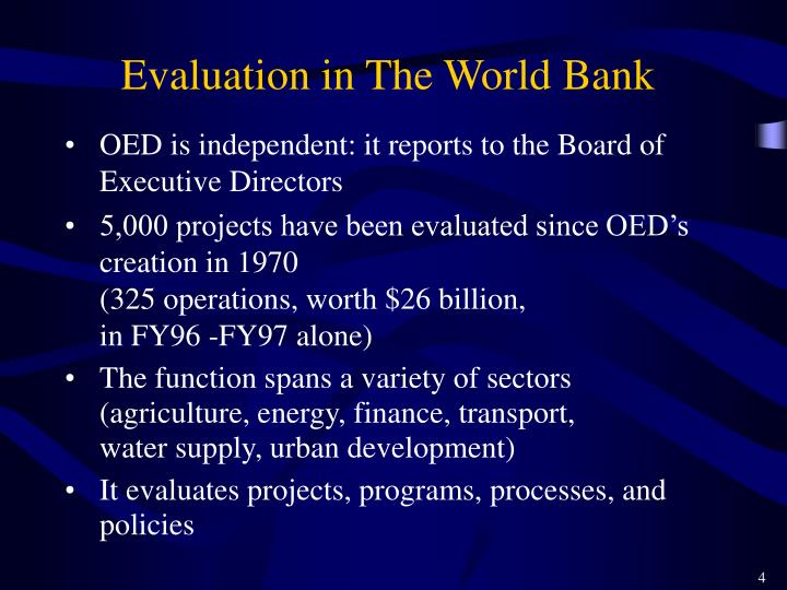 Evaluation in The World Bank