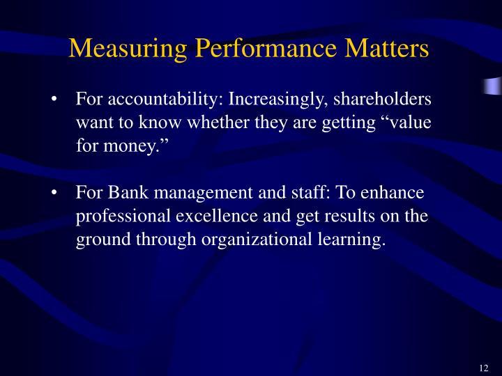 Measuring Performance Matters