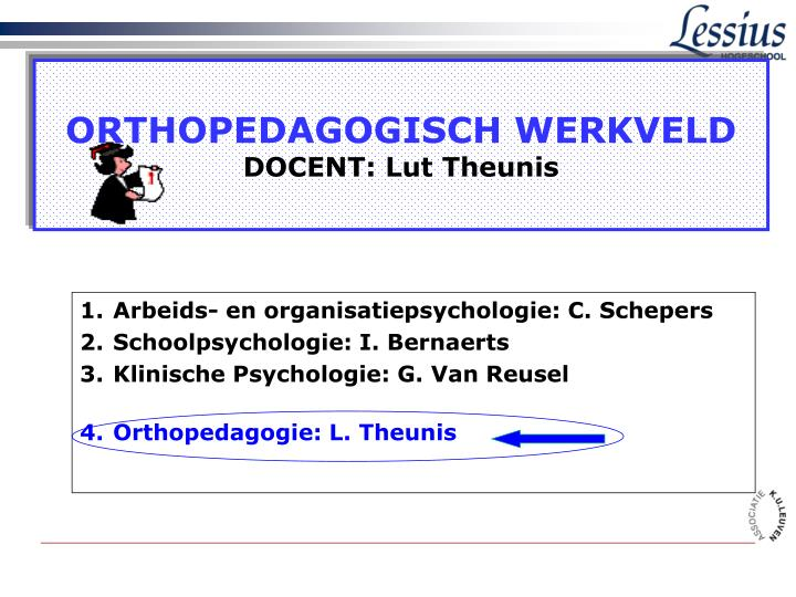orthopedagogisch werkveld docent lut theunis