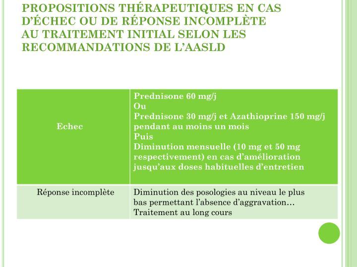 PROPOSITIONS THÉRAPEUTIQUES EN CAS D'ÉCHEC OU DE RÉPONSE INCOMPLÈTE