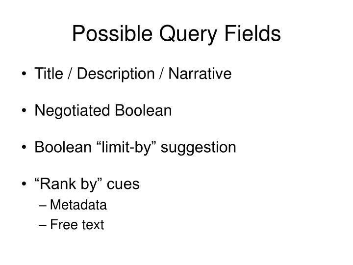 Possible Query Fields