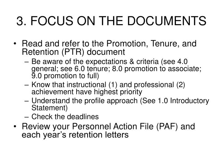 3. FOCUS ON THE DOCUMENTS