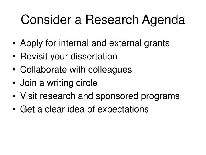 Consider a Research Agenda