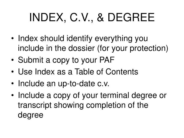 INDEX, C.V., & DEGREE