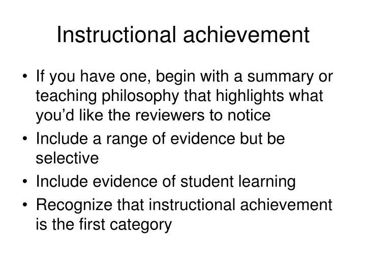Instructional achievement