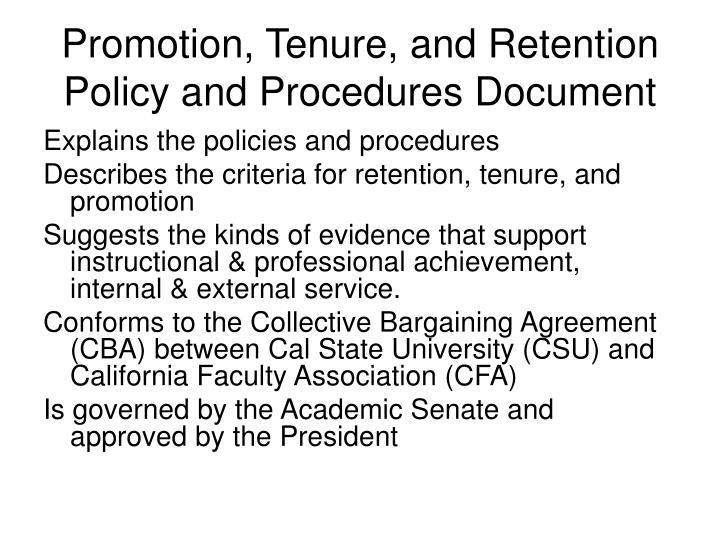 Promotion, Tenure, and Retention Policy and Procedures Document