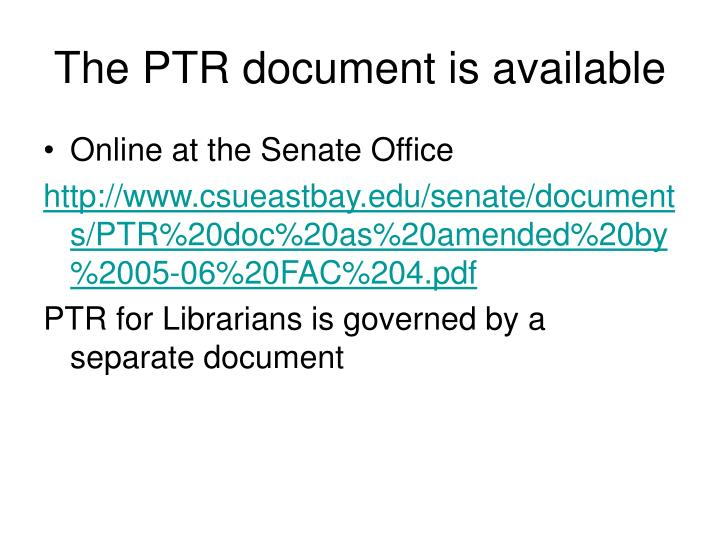 The PTR document is available