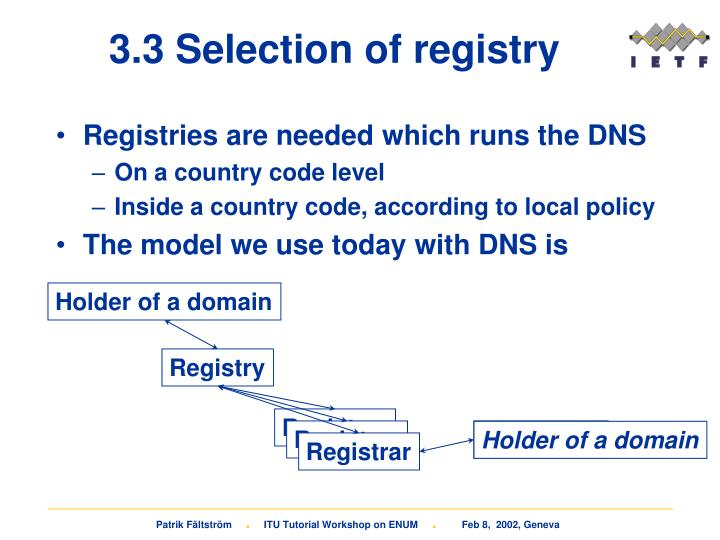 3.3 Selection of registry