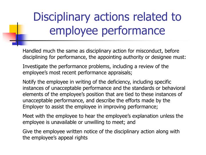 Disciplinary actions related to employee performance