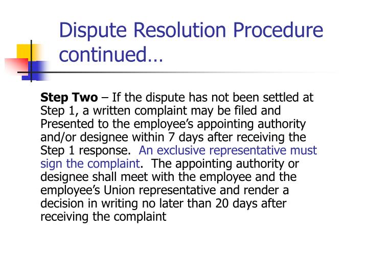 Dispute Resolution Procedure