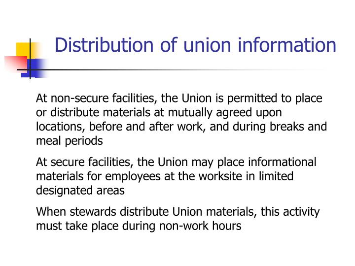Distribution of union information