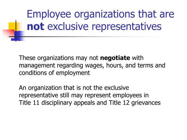 Employee organizations that are