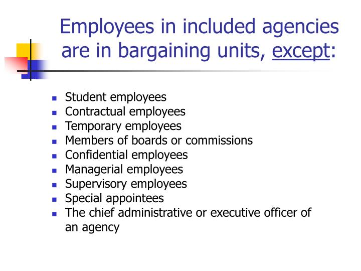 Employees in included agencies are in bargaining units,