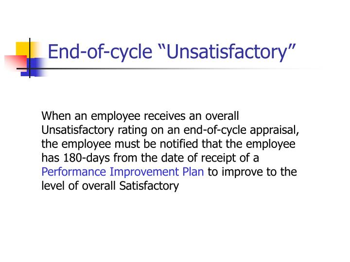 "End-of-cycle ""Unsatisfactory"""